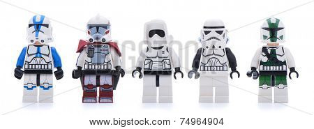 Ankara, Turkey - May 28, 2013: Lego Star Wars minifigure sandtroopers and stormtroopers isolated on white background.