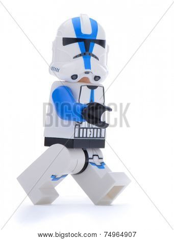 Ankara, Turkey - May 28, 2013: Lego Star Wars minifigure Sandtrooper walking isolated on white background.