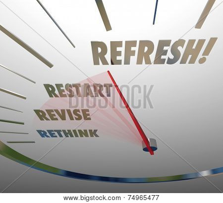 Refresh, Revise, Restart and Rethink words on white speedometer measuring the relaunch of your product, service, company or business