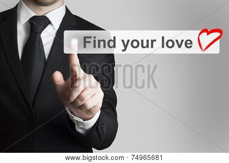 Businessman Pushing Flat Touchscreen Button Find Your Love Heart icon