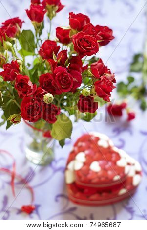Roses and gifts in Valentine day