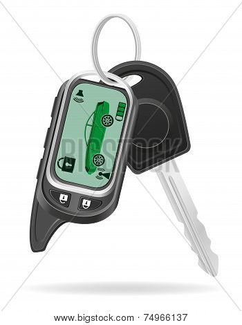 Remote Car Alarm With Car Keys Vector Illustration