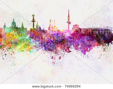 Hannover Skyline In Watercolor Background