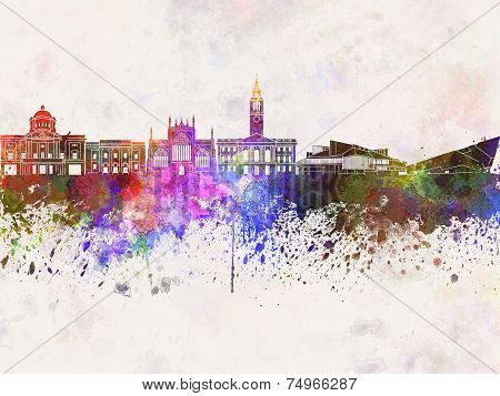 Kingston Upon Hull Skyline In Watercolor Background