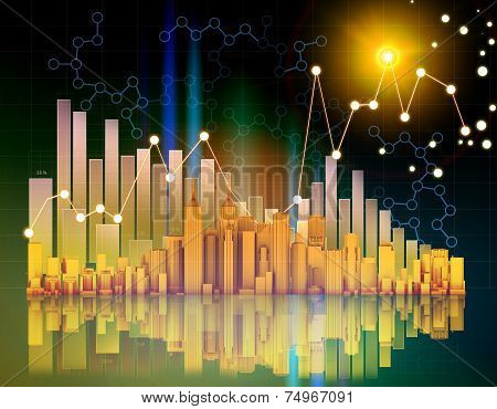 office skyscrapers and columnar chart on abstract background.