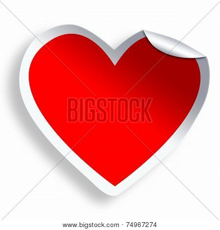 Red Blank Heart Sticker  Isolated On White