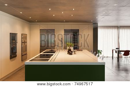 Modern kitchen, interior, house in cement