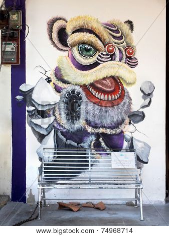 Famous Street Art Mural In Georgetown, Penang, Malaysia