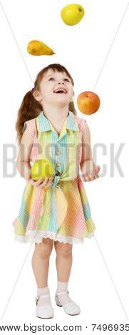 Little Funny Girl Juggles Fruit