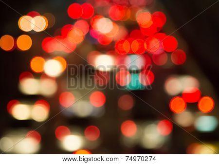 Blur Bokeh Of Traffic Jam In City At Night
