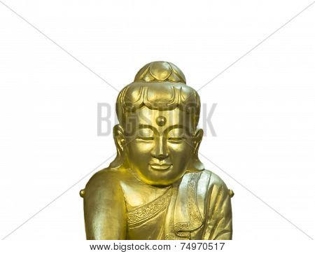 Buddha Statue Image In Chinese Style With Smile Isolated On White Background