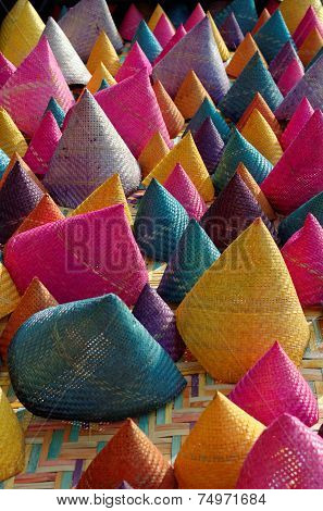composition of colorful conical woven bamboo