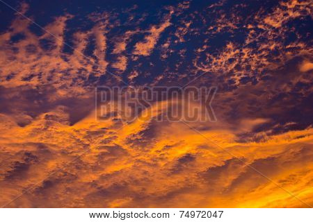 Heavy Thunderclouds At Sunset