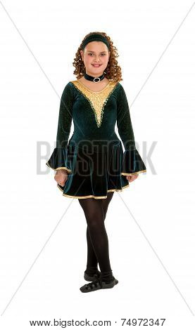 Celtic Dancer In Green Costume