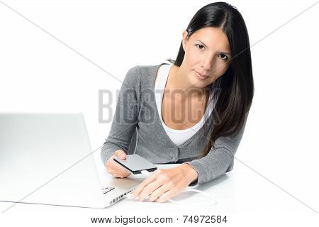 Gorgeous Woman Connecting External Hdd To Laptop