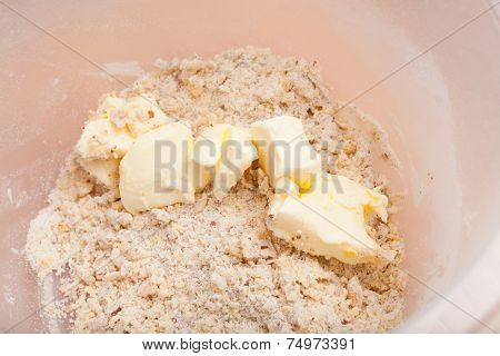 Closeup Of Butter In Mixing Bowl