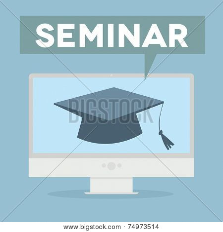 minimalistic illustration of a monitor with a Seminar speech bubble, eps10 vector