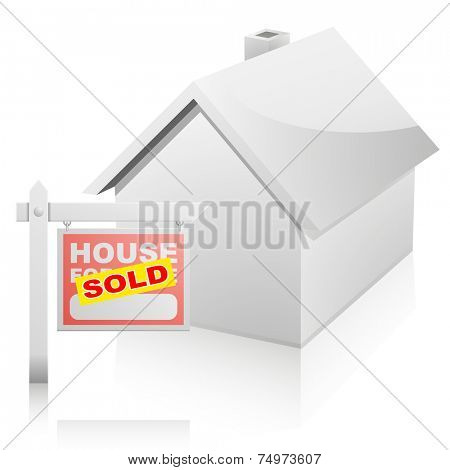 detailed illustration of a real estate House For Sale sign with yellow sticker in front of a house, eps10 vector
