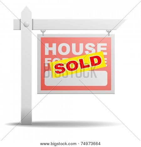 detailed illustration of a House For Sale real estate sign with a yellow Sold sticker on it, eps10 vector