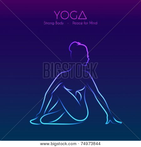 Yoga pose woman's silhouette