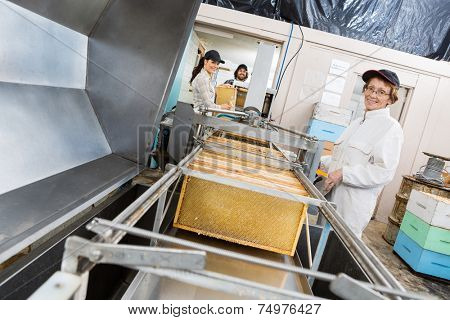 Portrait of senior female beekeeper working on honey extraction plant with colleagues in factory