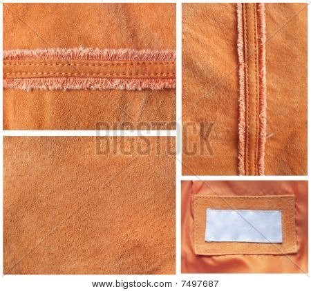 Collection Of Various Backgrounds From Velours Leather In The Country Style