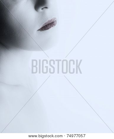 High Key Fine Art Portrait Of Woman Mouth And Chin On Bright White Background