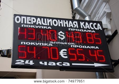 Plate Exchange Rate Ruble Dollar Euro Russia