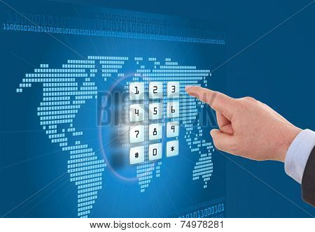 Hand pushing touch screen button with blue background with map