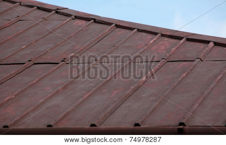 Bad condition metal roof surface.