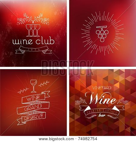 Wine Bar Vintage Label Background Set