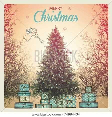 Christmas Poster - Vintage style Christmas greeting, with snow-capped tree, gift boxes and a cherub announcing holidays, mixed media illustration