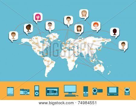 Worldwide Connectivity - Concept illustration of network connection around the world, with avatars and various connection devices, from desktop computer to mobile phones