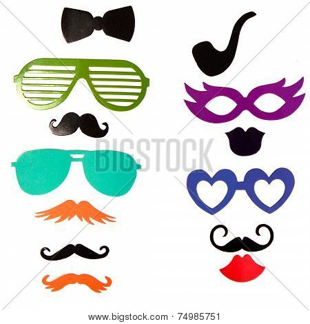 Photobooth Birthday And Party Set - Glasses, Hats, Crowns, Masks, Lips, Mustaches