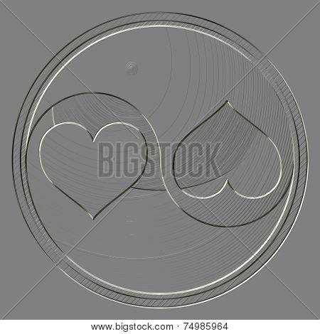 Metal Relief Yin-yang Heart Symbol
