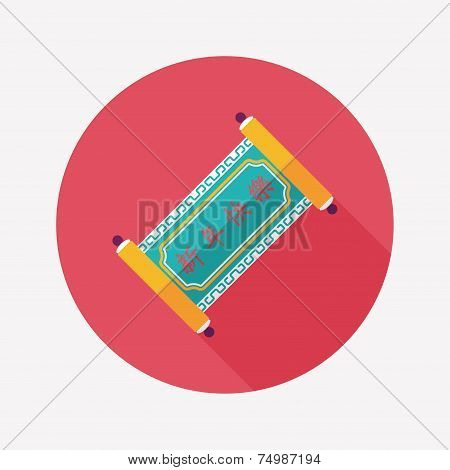 Chinese New Year Flat Icon With Long Shadow,eps10, Chinese Words Calligraphy Scrolls Means