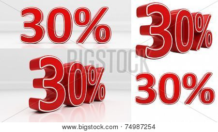 Thirty percent off. Discount 30. 3D illustration