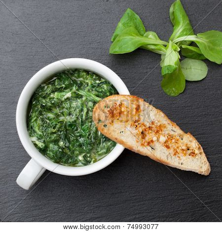 Sauteed Garlic Spinach Dish, Baked Bread Slice  With  Melted Cheese