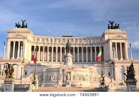 Majestic Altar of the Fatherland in sunset light in Rome, Italy.