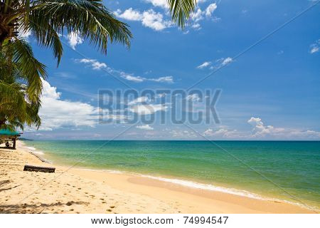 Sand beach with canoes in Phu Quoc close to Duong Dong, Vietnam