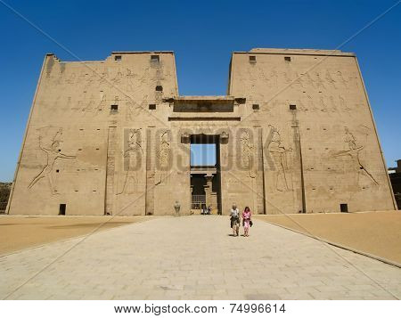 Main Entrance Of The Edfu Temple In Egypt