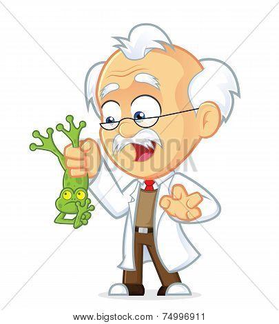Vector Professor Holding Frog