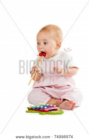 Baby Playing With Xylophone
