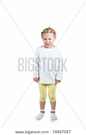 Little Girl Standing And Crying