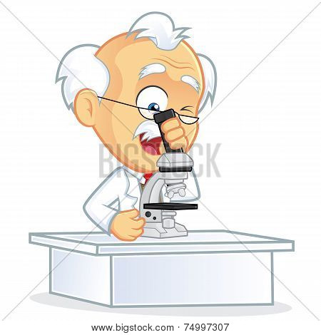 Vector Professor Using a Microscope