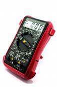 stock photo of  multimeter  - Black and red Digital multimeter isolated on a white background - JPG