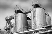 picture of silo  - a brewery silos view from below black and white - JPG
