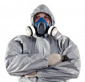 picture of decontamination  - A pest control worker wearing a mask - JPG