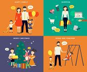 stock photo of christmas baby  - Family with children kids people concept flat icons set of parenting - JPG