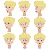 stock photo of outrageous  - Set of variation of emotions of the same girl with blonde hair - JPG